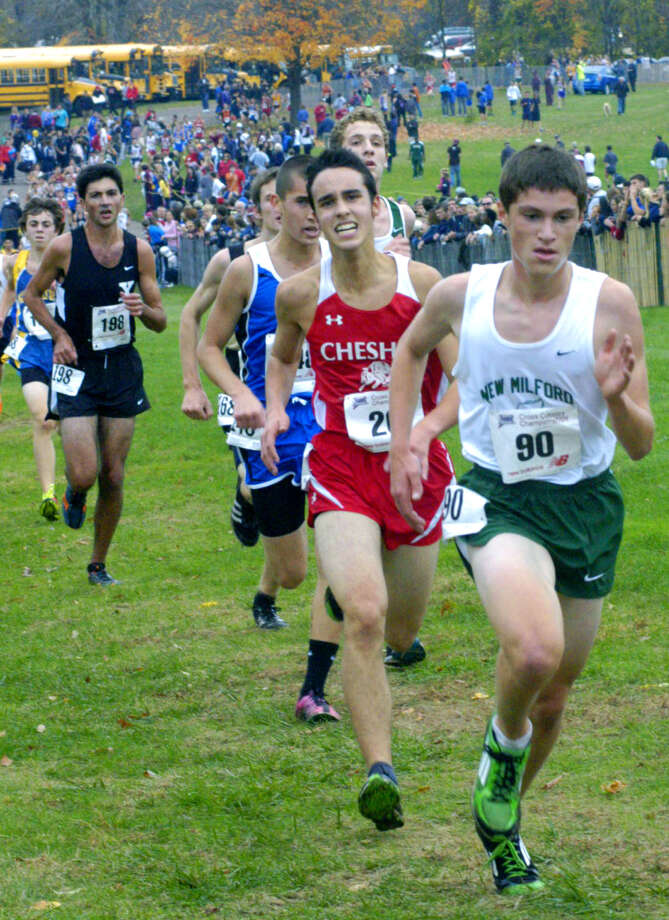 "Hugh Sichel (90) of the Green Wave kicks the final few yards of the five-kilometer course at Wickham Park in Manchester last Saturday to assure the New Milford High School boys' cross country team its runnerup finish in state clas 'LL."" Oct. 27, 2012 Photo: Norm Cummings"