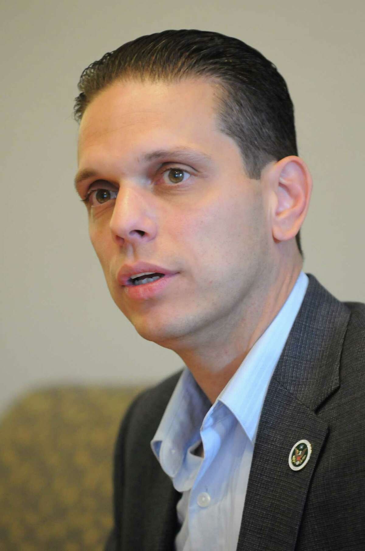 Angelo Santabarbara, candidate in the 111th Assembly District race, Monday Oct. 22, 2012, in Colonie, N.Y. (Will Waldron / Times Union)
