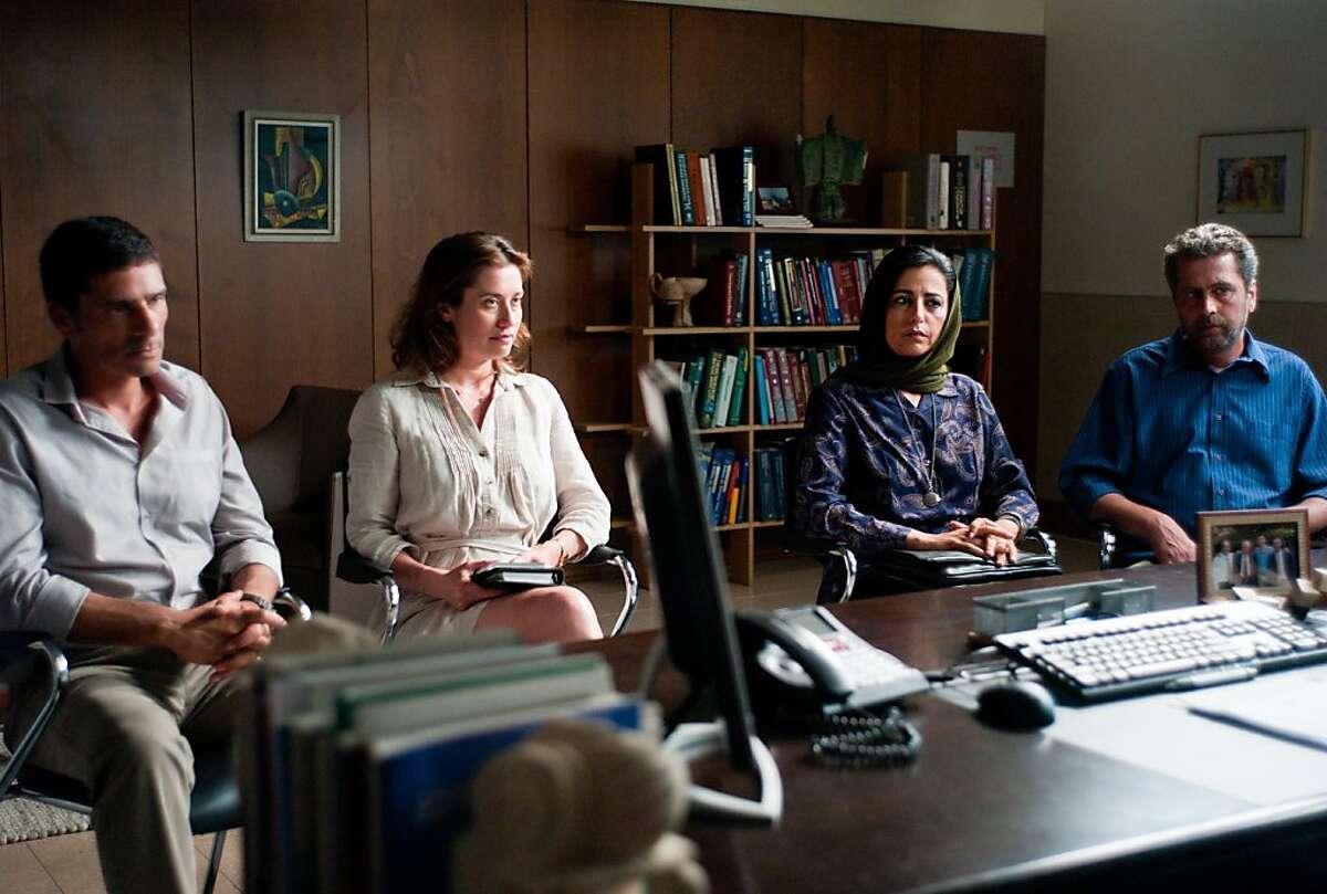 Alon (Pascal Elbe), Orith (Emmanuelle Devos), Leila (Areen Omari), Said (Khalifa Natour) star in the Cohen Media group release