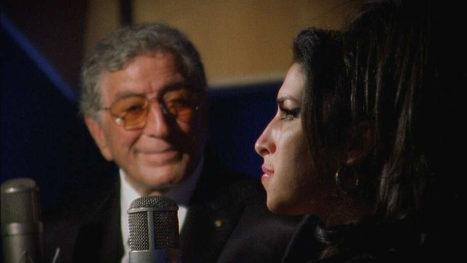 "Tony Bennett and Amy Winehouse in the recording studio in London, working on a rendition of ""Body and Soul,"" in the documentary, ""The Zen of Bennett"" (2012). Photo: Benedetto Films"