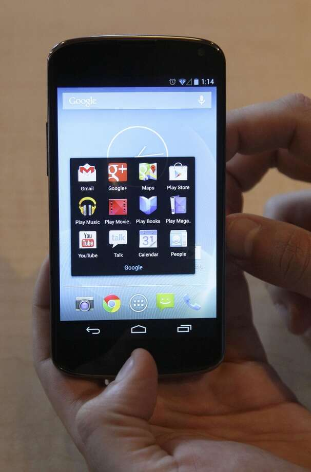 Nexus 4Google4.7-inch touch screen1280x768 resolution5.27 x 2.7 x 0.36 inches 4.9 ouncesS4 quad-core processorUses Jelly Bean2 camerasWireless charging built inStarting at $299Available Nov. 13 (Associated Press)
