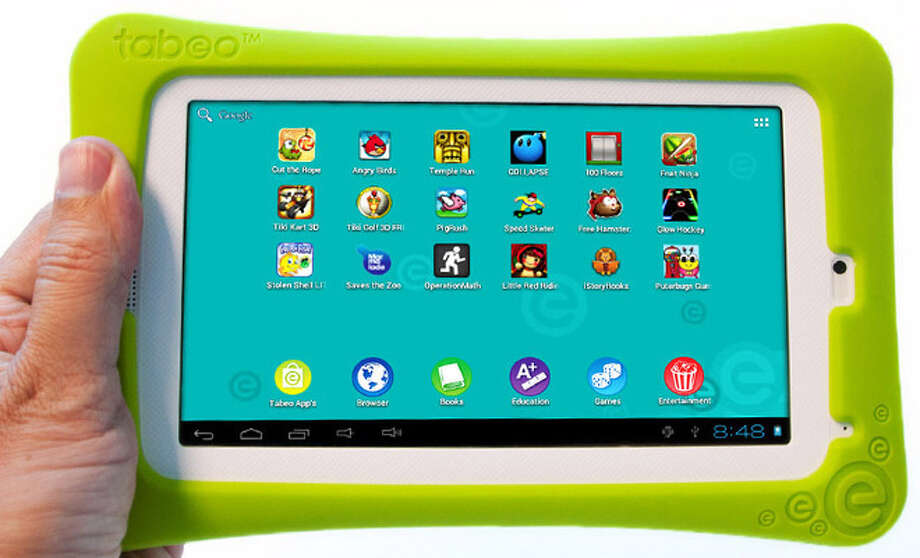 TabeoToys R' UsTablet aimed at children7-inch touch screen 800x480 resolution8.78 x 5.6 x 0.48 inches13,4 ounces4GBWi-FiIce Cream Sandwich, Android  systemPreloaded with 50  appsFirst store-brand  tablet$150 (Courtesy Toys R Us)