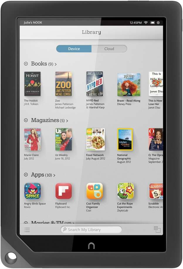 Nook HDBarnes and Noble9-inch touch screen1920x1280 resolution18.2 ouncesUp to 10 hours battery lifeDual-core processorVideo purchase and rental  serviceMultiple profilesImproving browsing capabilityStarting at $269Available as of Thursday (Courtesy Barnes and Noble)