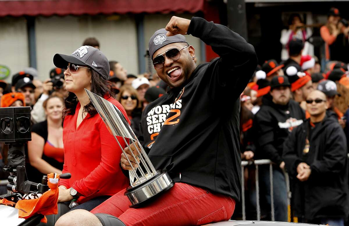 San Francisco Giants' Pablo Sandoval the MVP of the World Series celebrate their World Championship with a parade up Market Street in downtown San Francisco, Calif., on Wednesday Oct. 31, 2012.