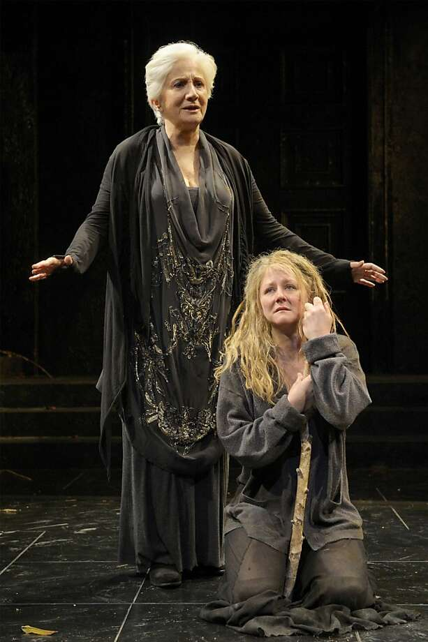 The Chorus (Olympia Dukakis, left) with Elektra (Rene Augesen) in Sophocles' drama. Photo: Kevin Berne