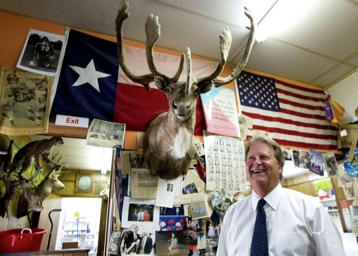 Democratic Senate candidate Paul Sadler visits the Strong-Hurt Pharmacy, a Henderson gathering spot, after voting Tuesday.