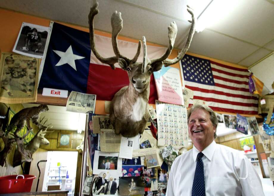 Democratic Senate candidate Paul Sadler visits the Strong-Hurt Pharmacy, a Henderson gathering spot, after voting Tuesday. Photo: Brett Coomer, MBI / Houston Chronicle