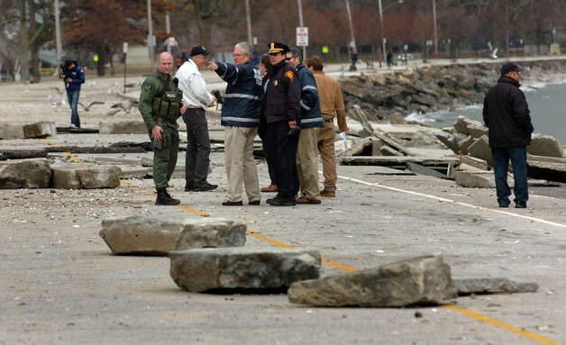 Mayor Bill Finch and other officials tour damage left behind from Hurricane Sandy at Seaside Park in Bridgeport, Conn. on Wednesday October 31, 2012. Photo: Christian Abraham