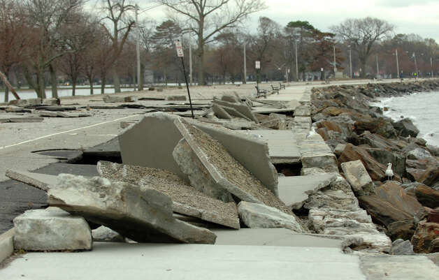 Damage left behind from Hurricane Sandy at Seaside Park in Bridgeport, Conn. on Wednesday October 31, 2012. Photo: Christian Abraham