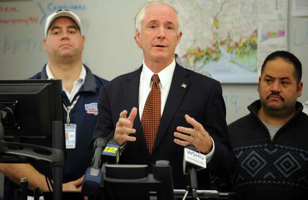 Mayor Bill Finch discusses the city's status following Hurricane Sandy during a press conference Wednesday, Oct. 31, 2012 at the Bridgeport Emergency Operations Center in Bridgeport, Conn. Photo: Autumn Driscoll