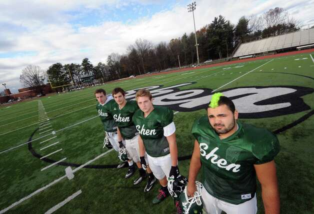 Shenendehowa High School football defensive lineman, left to right, Eric Hurd, Eric Kromer, Chris Stewart and Alan Gaines in Clifton Park , NY Wednesday Oct. 31, 2012. (Michael P. Farrell/Times Union) Photo: Michael P. Farrell