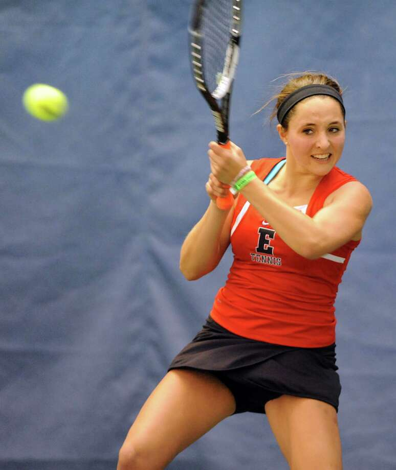 Emma Willard's Claire Schmitz returns the ball to opponent Shaker's Shannon Mukerji during their Section II tennis championship game on Wednesday, Oct. 31, 2012, at Sportime in Schenectady, N.Y. (Cindy Schultz / Times Union) Photo: Cindy Schultz / 00019896A