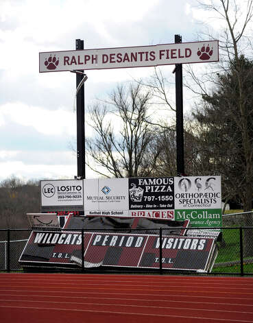 The scoreboard at Bethel High School was destroyed by the high winds of Hurricane Sandy. Photo taken, Wednesday, Oct. 31, 2012. Photo: Carol Kaliff