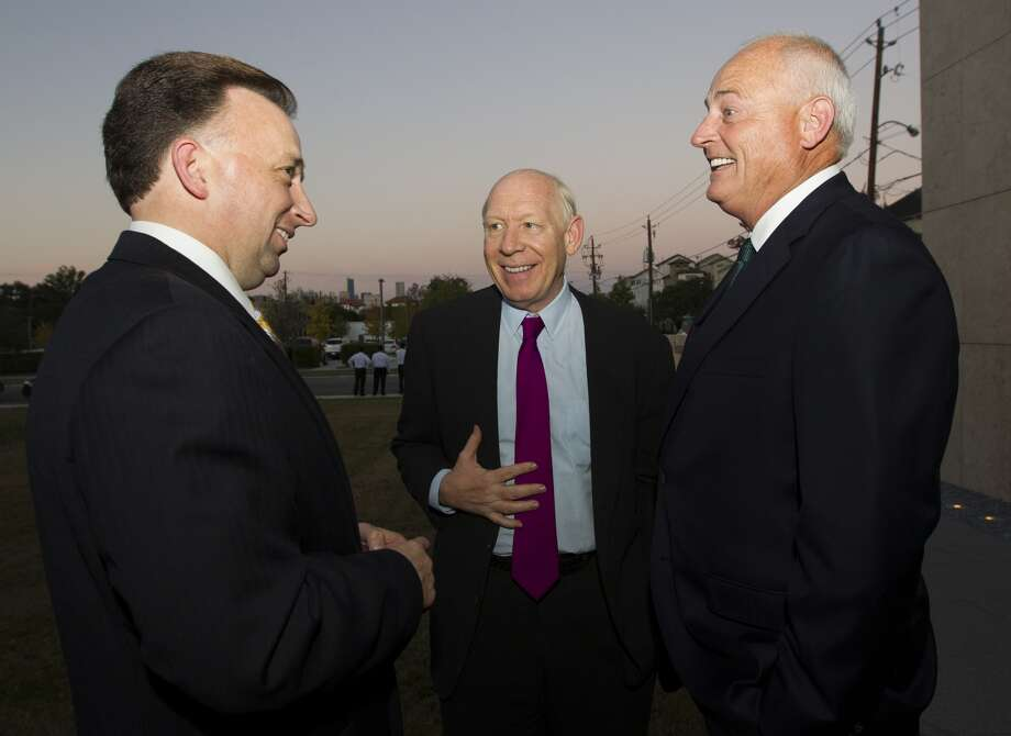 From left, Hearst Executive Vice President Mark Aldam, former Mayor Bill White and Chronicle publisher Thomas A. Stephenson.
