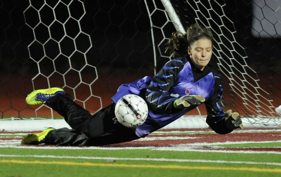 Scotia- Glenville goal keeper Carina Morgan dives to save a goal during a Class A Section ll semifin