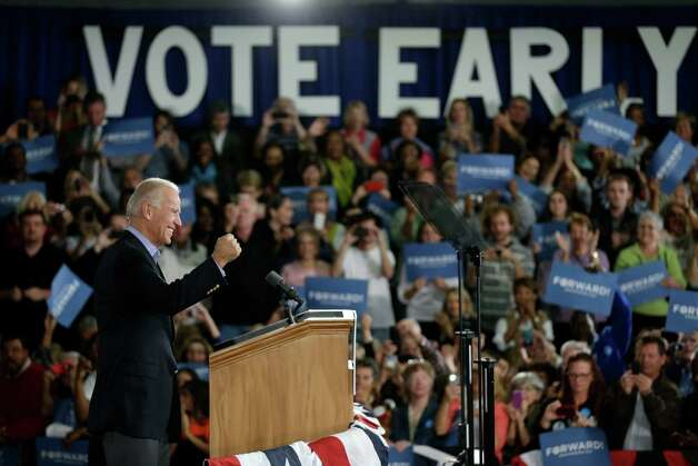 Vice President Joe Biden gestures while speaking at a campaign rally at the Municipal Auditorium in Sarasota, Fla., Wednesday, Oct. 31, 2012. (AP Photo/Matt Rourke) Photo: Matt Rourke