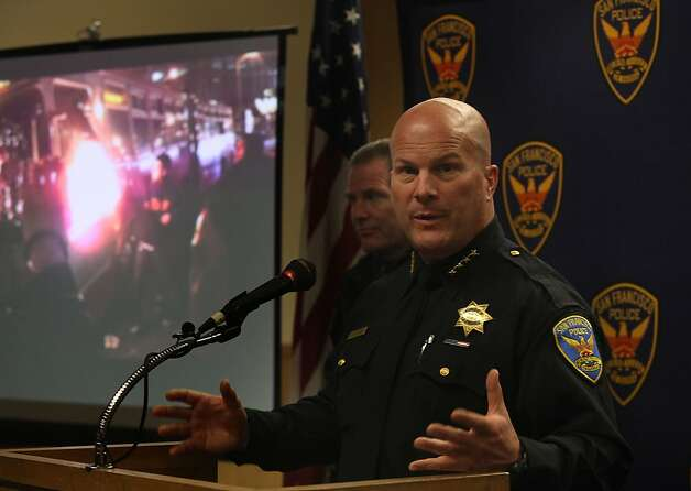 San Francisco police chief Greg Suhr discusses developments of the arson and vandalism of a Muni bus last monday at the police station in San Francisco, Calif.,  on Wednesday, October 31, 2012.  Chief Suhr thanks the public for assistance in identifying suspect Gregory Tyler Graniss, 22, of San Francisco. Photo: Liz Hafalia, The Chronicle