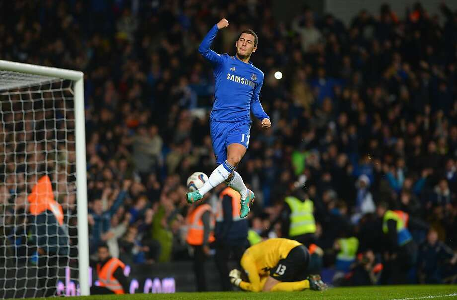 Eden Hazard of Chelsea celebrates his penalty during the Capital One Cup Fourth Round match between Chelsea and Manchester United at Stamford Bridge on October 31, 2012 in London, England.  (Photo by Shaun Botterill/Getty Images) Photo: Shaun Botterill, Getty Images