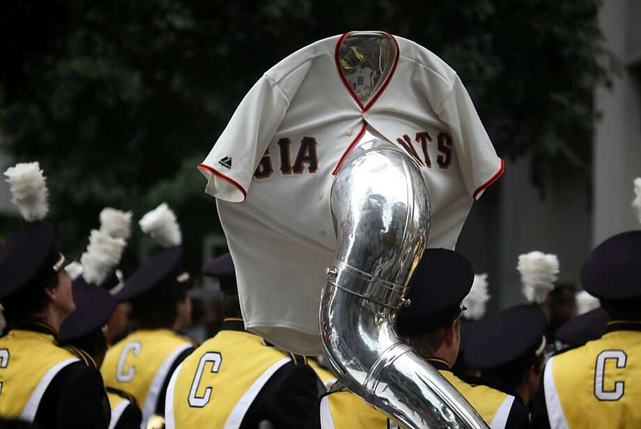 A tuba is adorned with a San Francisco Giants jersey for the San Francisco Giants World Series victory parade on Wednesday, October 31, 2012 in San Francisco, Calif. Photo: Lea Suzuki, The Chronicle
