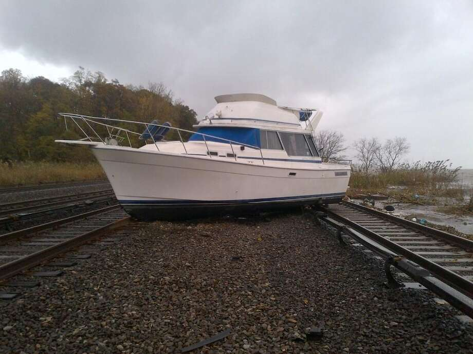 A 38-foot boat on the tracks near MNR's Ossining Station. (MTA)