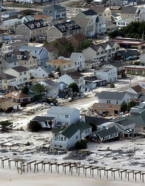 The view of storm damage over the Atlantic Coast from the helicopter following Marine One with US Pr