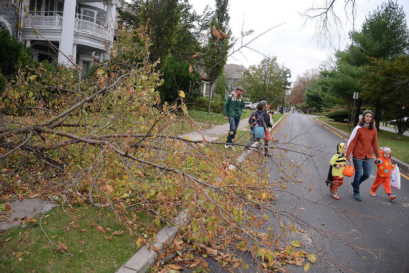 NEW YORK, NY - OCTOBER 31:  Trick-or-treaters pass by the remains of a tree that fell during Hurrica