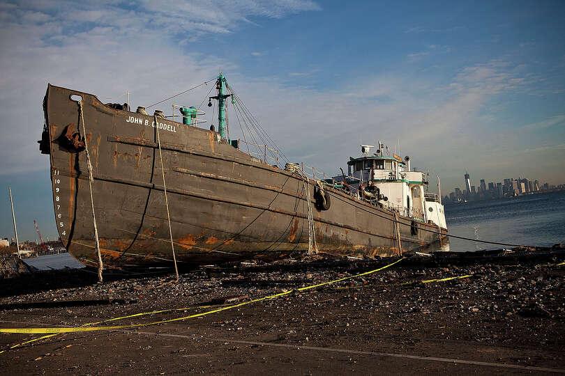 NEW YORK, NY - NOVEMBER 01:  The John B. Caddell tanker is docked along the Staten Island water fron