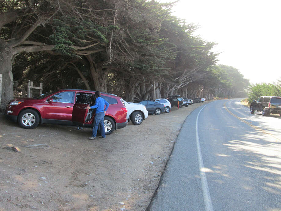 Parking is unsigned; look for cypress trees seven miles south of Rio Road (driving from Carmel) (Tom Stienstra/The Chronicle)