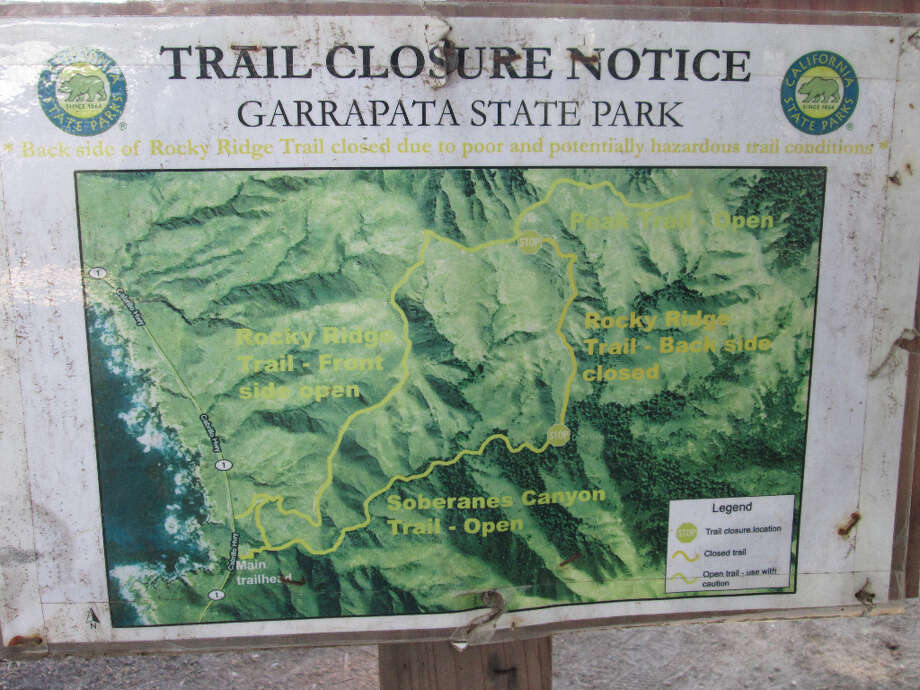 A posted trail map shows the closed section out of Soberanes Canyon to the ridge (Tom Stienstra/The Chronicle)