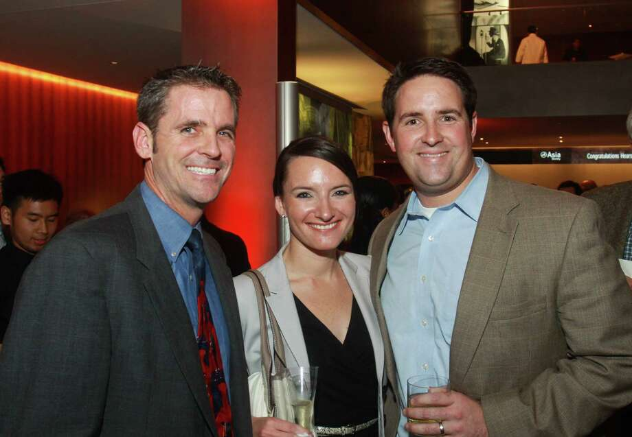 John T. O'Loughlin, Houston Chronicle president, from left, with Stephanie and David King Photo: Gary Fountain, Freelance / Freelance