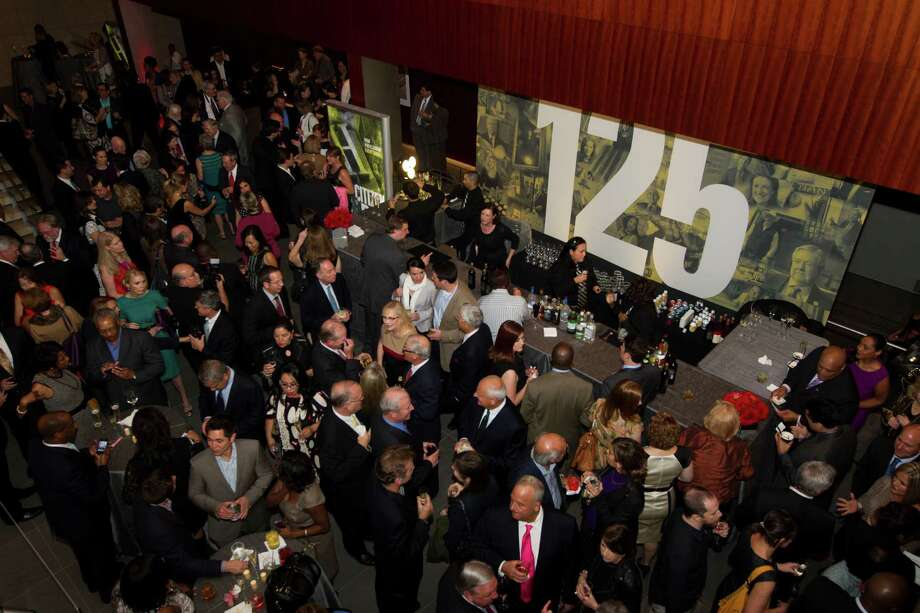 "Before the screening of ""Citizen Hearst: The Story of A Modern Media Company 125 Years in the Making,"" the crowd admired the Asia Society Texas Center lobby. Photo: J. Patric Schneider, Freelance / Houston Chronicle"