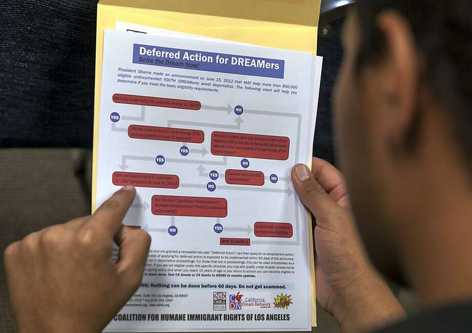 The deferred-action program offers undocumented immigrants a pathway to work if they were brought to the United States as children, among other criteria. Photo: Damian Dovarganes, Associated Press