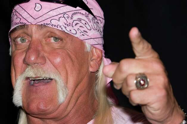 "Hulk Hogan has long been known for his horse shoe mustache, a/k/a ""the poor man's fu manchu.""AMI definition: ""A full moustache with vertical extensions grown on the corners of the lips and down the sides of the mouth to the jawline, resembling an upside-down horseshoe. The whiskers grown along the sides of the mouth in the horseshoe are sometimes referred to as ""pipes."" Not to be confused with the ""fu manchu"" which is grown long from the upper lip only– the sides remain shaven in the fu manchu."" Photo: Charles Sykes, ASSOCIATED PRESS / A2009"