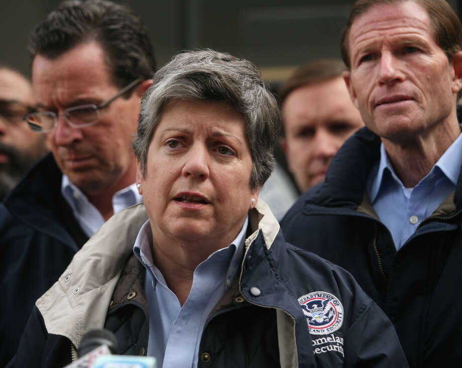 Homeland Security Secretary Janet Napolitano, flanked by Gov. Dannel Malloy, left, and Sen. Richard Blumenthal, addresses FEMA's response to Hurricane Sandy at Housatonic Community College in Bridgeport on Thursday, November 1, 2012. Photo: Brian A. Pounds / Connecticut Post