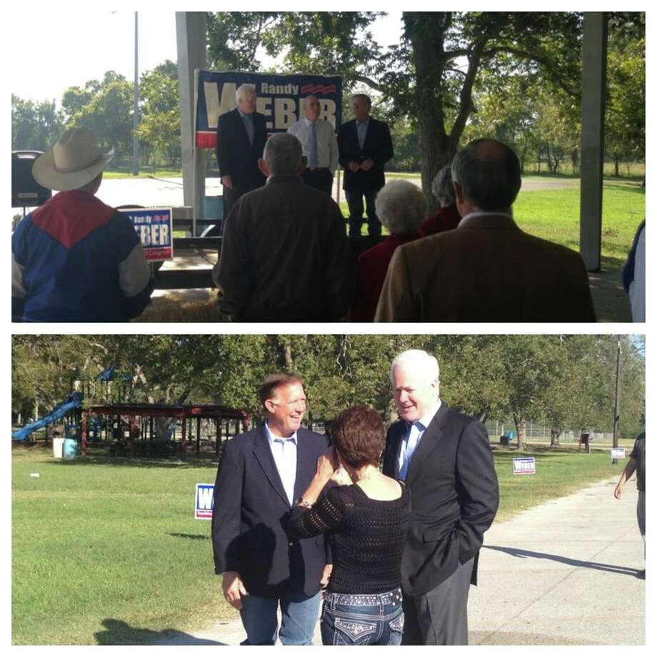 Dennis Bonnen and John Cornyn attend a rally for Randy Weber in Angleton. ((Randy Weber Facebook Page))