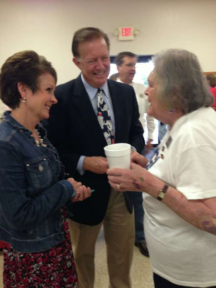 Randy Weber and his wife talk with voters at the Brazoria County Fun Fest. ((Randy Weber Facebook Page))