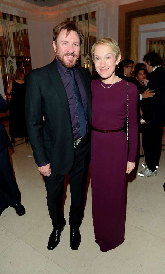 Simon Le Bon, left, and Justine Picardie are seen at the Harper's Bazaar Woman of the Year Awards 2012 in association with Estée Lauder, Harrods and Tiffany & Co. at Claridge's Hotel on Wednesday, Oct. 31, 2012 in London. Photo: Jon Furniss, Jon Furniss/Invision/AP / Invision2012