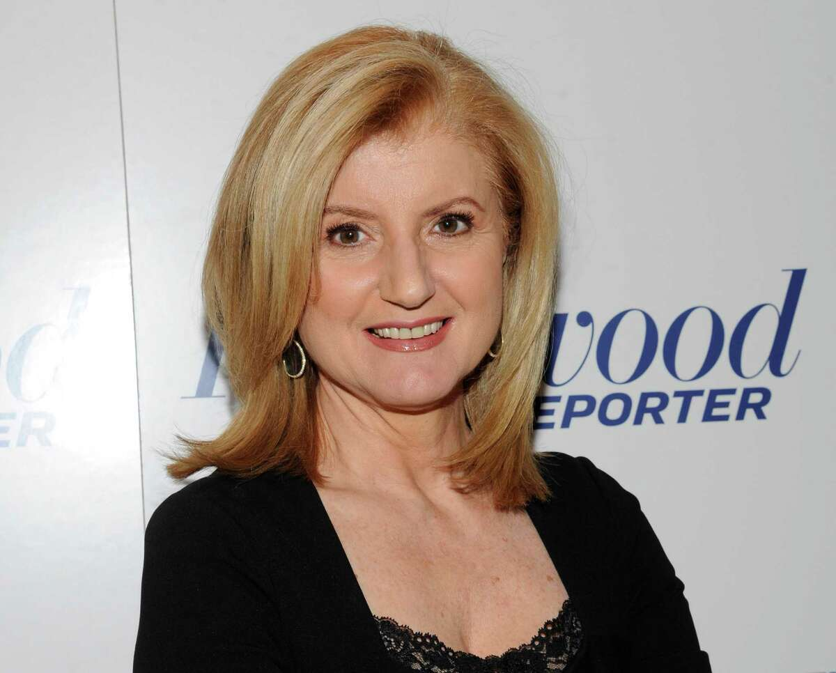 FILE - In this April 11, 2012 file photograph released by Hollywood Reporter Arianna Huffington at The Hollywood Reporter 35 Most Powerful People in Media event in New York. Oprah Winfrey and Huffington launched
