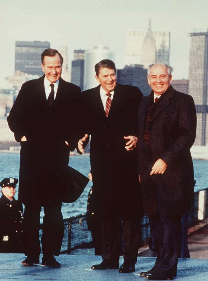 From left, George Bush, Ronald Reagan and Mikhail Gorbachev meet in New York on Governors Island during the Soviet president's visit to the United States on December  7, 1988. All three were leaders of their nations during the final days of the Cold War, the focus of a 24-part CNN documentary. Photo: AP / CNN