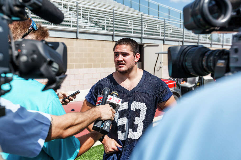 UTSA senior linebacker Brandon Reeves talks to reporters after the first day of fall practice for the Roadrunners at Dub Farris Stadium on Aug. 5, 2012.  MARVIN PFEIFFER/ mpfeiffer@express-news.net Photo: MARVIN PFEIFFER, Express-News / Express-News 2012