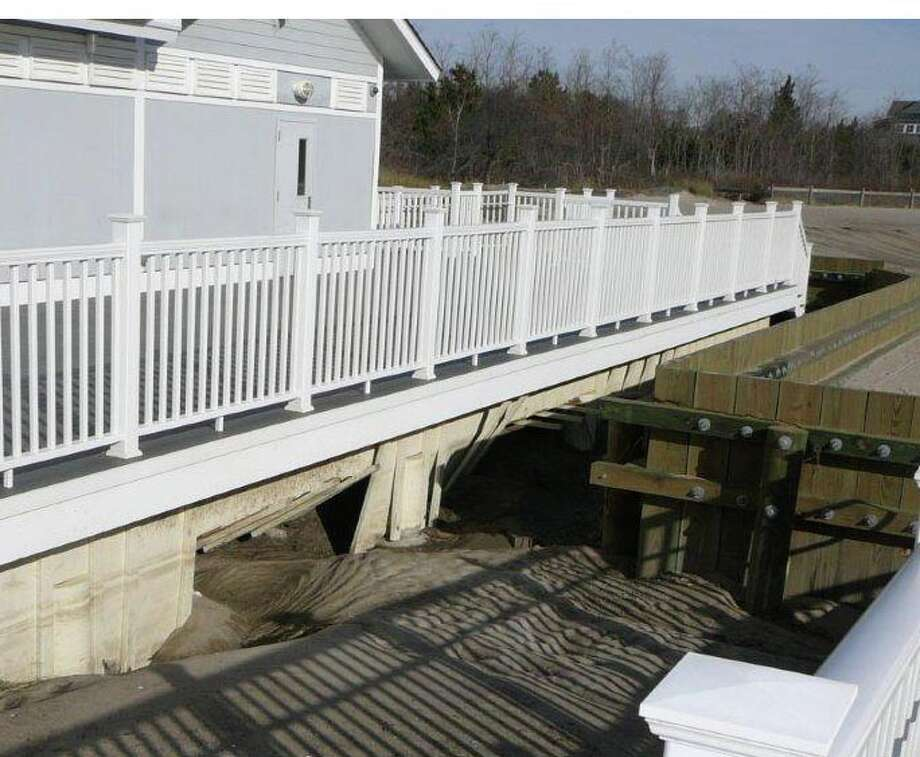 Town officials say Penfield Pavilion will be closed for at least two months while they repair the damage caused by Sandy. Photo: Contributed Photo / Fairfield Citizen