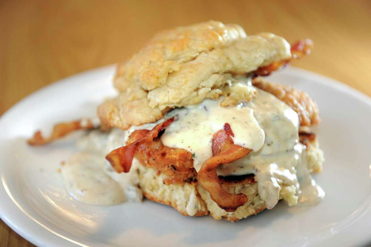 The Fathead biscuit sandwich on Tuesday, Oct. 30, 2012, at The Flying Chicken in Troy, N.Y. (Cindy Schultz / Times Union)