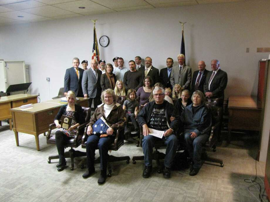 Family members, friends, government officials, and members of the Honor-A-Deceased Veteran Committee are pictured following the ceremony commemorating the life and service of Vietnam War Veteran James J. Danaher Jr. (Sbmitted photo)