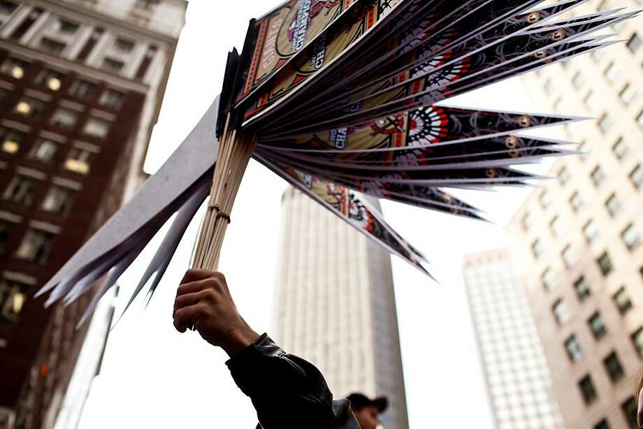 Vendors sold merchandise like baseball pennants before the Giants World Series Championship parade in San Francisco, Calif., Wednesday, October 31, 2012. Photo: Jason Henry, Special To The Chronicle