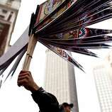 Vendors sold merchandise like baseball pennants before the Giants World Series Championship parade in San Francisco, Calif., Wednesday, October 31, 2012.