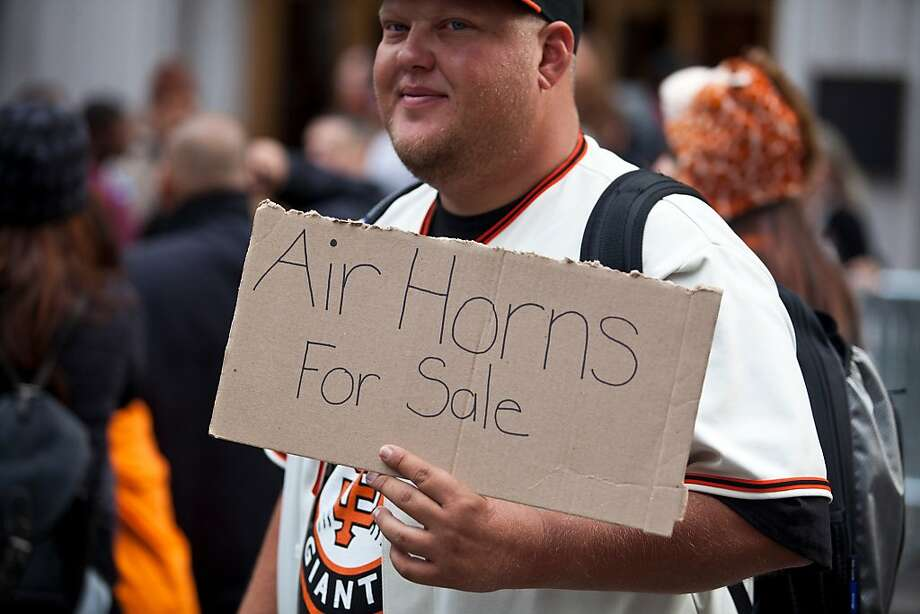 A man sold air horns before the Giants World Series Championship parade in San Francisco, Calif., Wednesday, October 31, 2012. Photo: Jason Henry, Special To The Chronicle