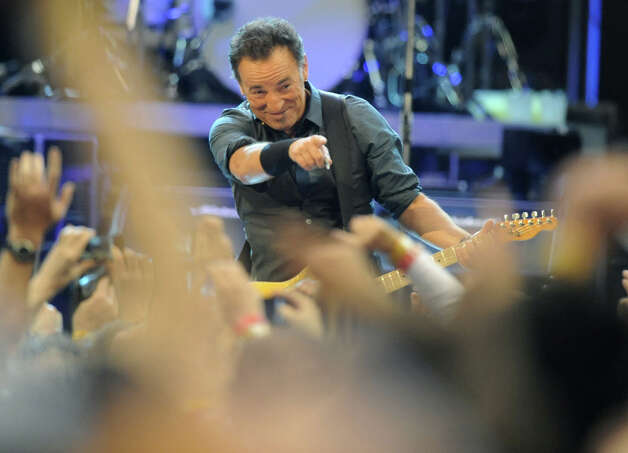 Bruce Springsteen performs to a sold out crowd at the Times Union Center on April 16, 2012 in Albany, N.Y. (Lori Van Buren / Times Union) Photo: Lori Van Buren / 00017239A
