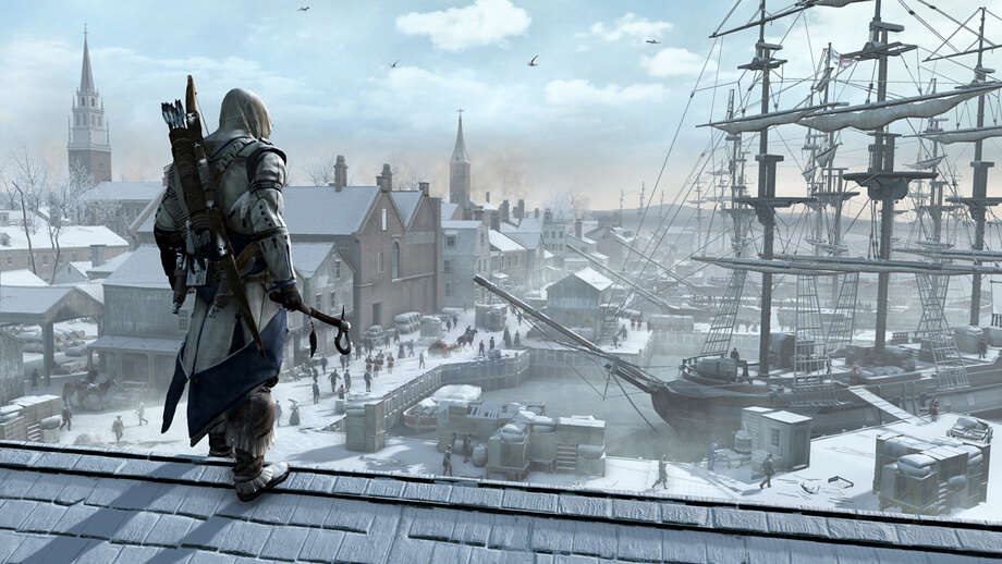 "A scene from the video game ""Assassin's Creed III,"" in an undated handout image. New video games out fall 2012 include ""Call of Duty: Black Ops 2,"" ""Assassin's Creed III,"" ""Dishonored"" and ""Luigi's Ghost Mansion."" (Ubisoft via The New York Times) -- NO SALES; FOR EDITORIAL USE ONLY WITH STORY SLUGGED NEW VIDEO GAMES ADV09. ALL OTHER USE PROHIBITED. - PHOTO MOVED IN ADVANCE AND NOT FOR USE - ONLINE OR IN PRINT - BEFORE SEPT. 9, 2012. - Photo: UBISOFT / UBISOFT"