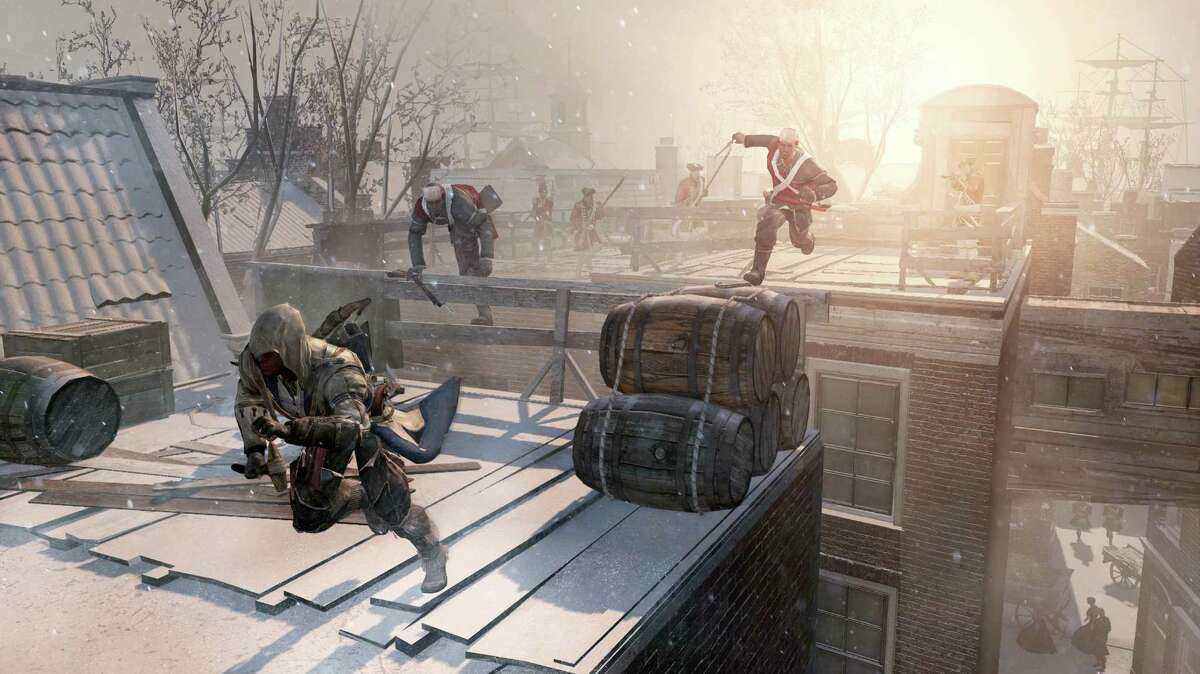 This video game image released by Ubisoft shows an assassin fleeing across the rooftops of colonial New York in a scene from