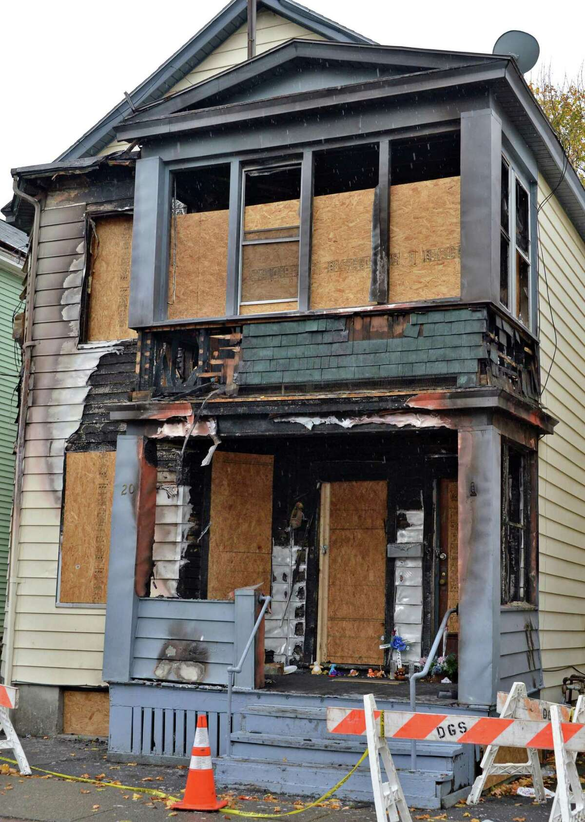 Fire damaged home at 20 Benson St. in Albany Thursday Nov. 1, 2012. (John Carl D'Annibale / Times Union)